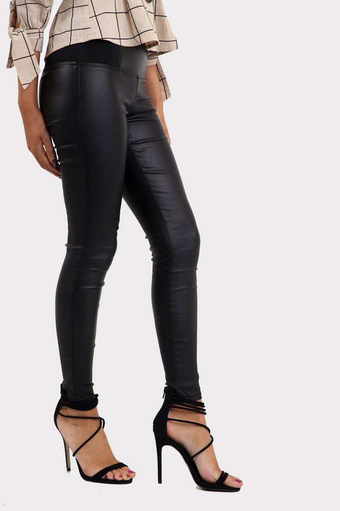 Black Leather Look Skinny Leggings