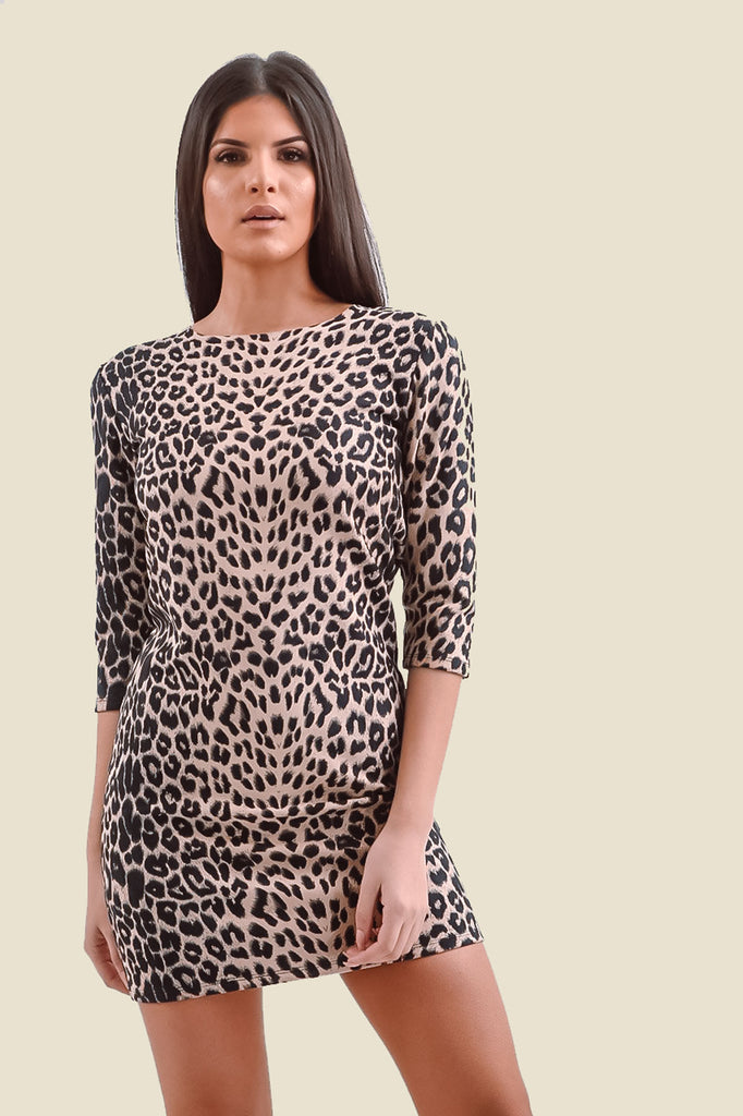 Brown Long Sleeve Faux Suede Leopard Print Dress