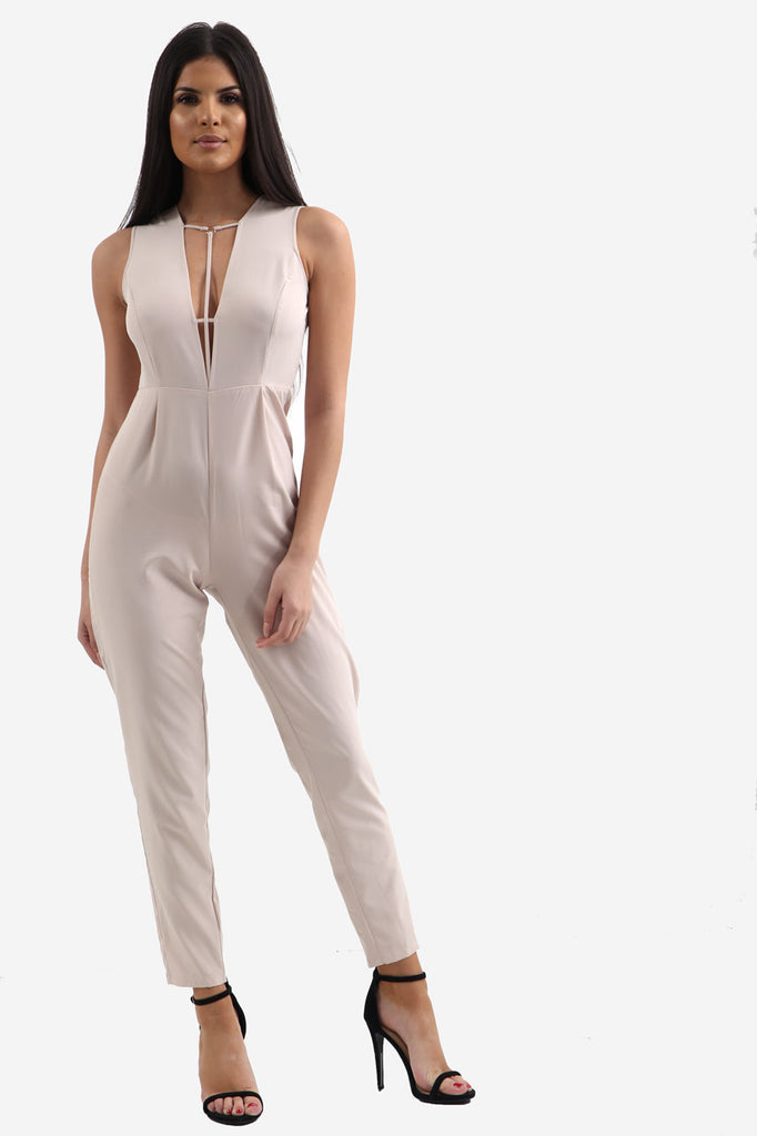 Light Pink Fitted Jumpsuit With Chest Detail