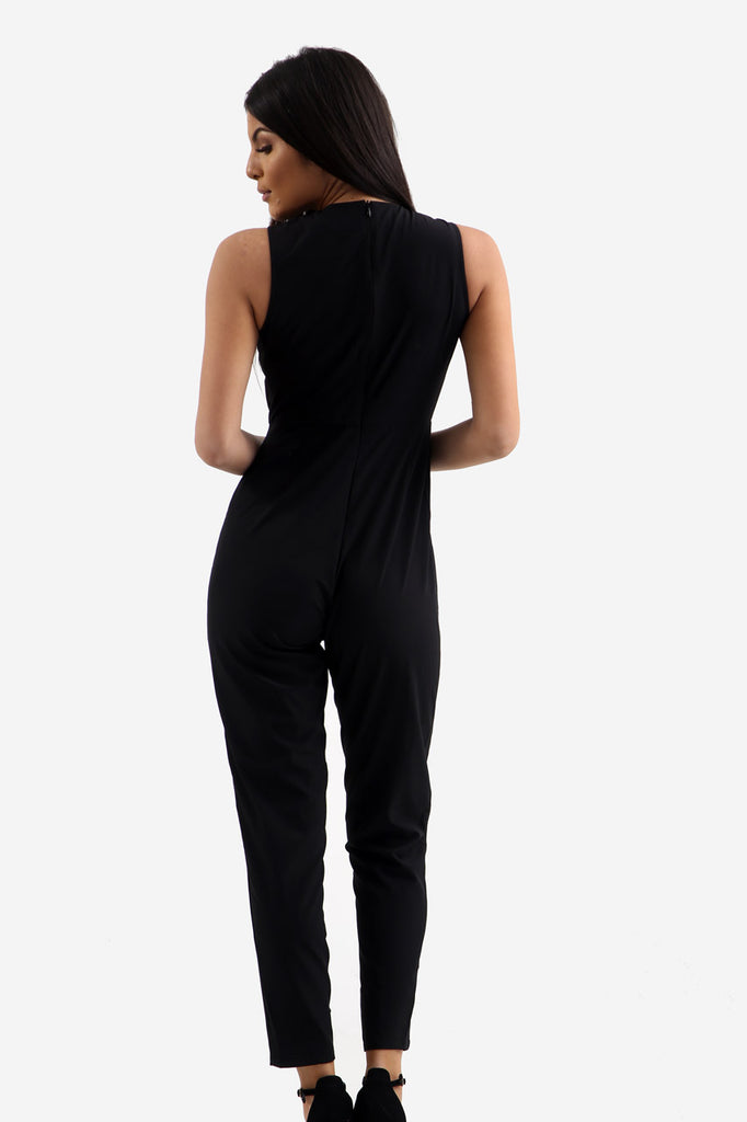Black Fitted Jumpsuit With Chest Detail