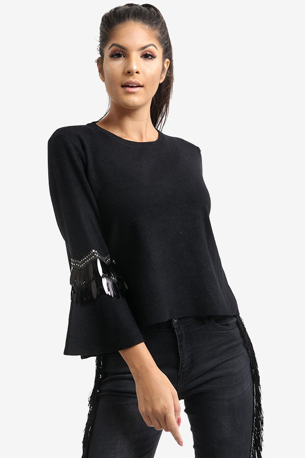 Black Flared Sleeve Jumper