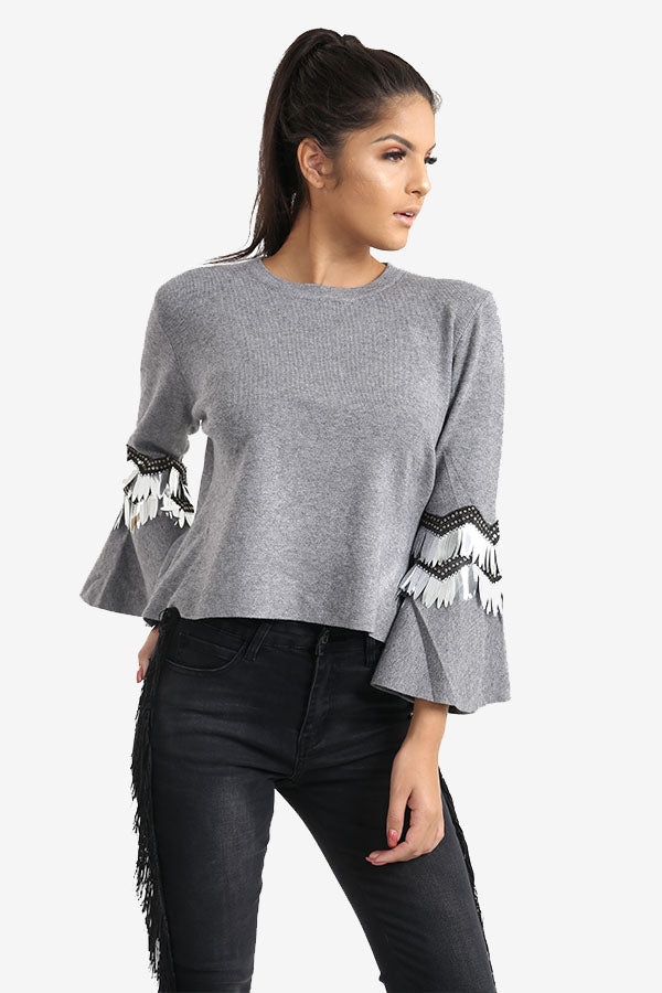 Grey Flared Sleeve Jumper