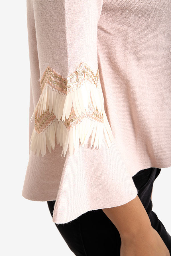 Pink Flared Sleeve Jumper