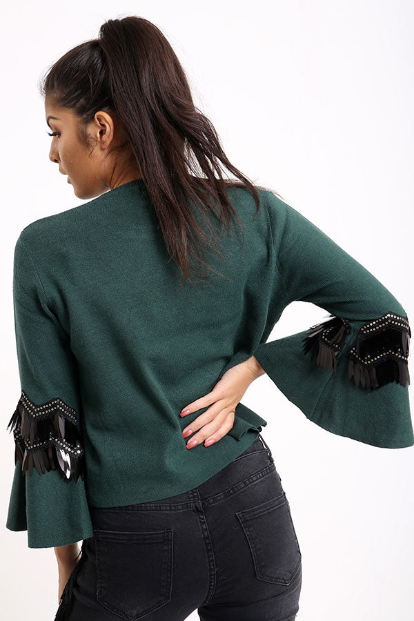 Green Flared Sleeve Jumper With Sequins
