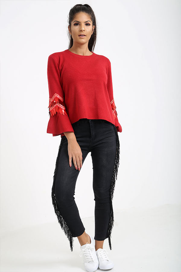 Red Flared Sleeve Jumper With Sequins