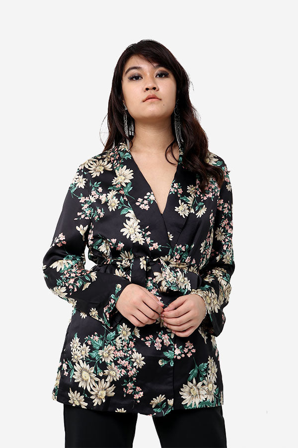 Long Floral Blazer With Tie Waist