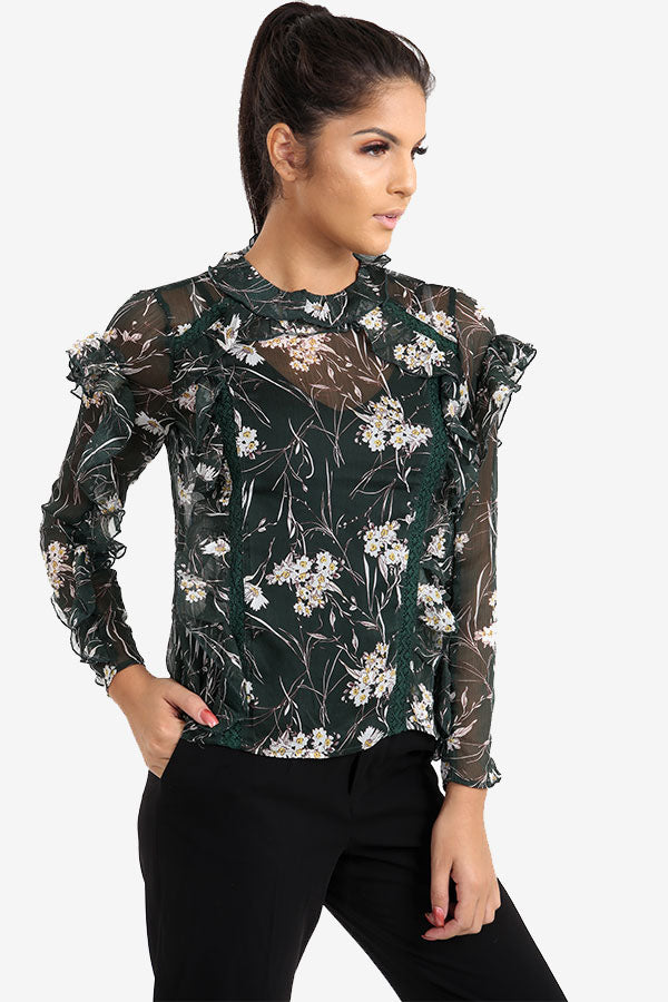 Green Floral Frill Top