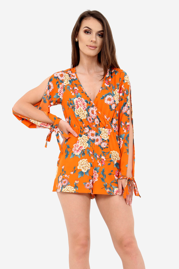 Orange Floral Long Sleeve Playsuit