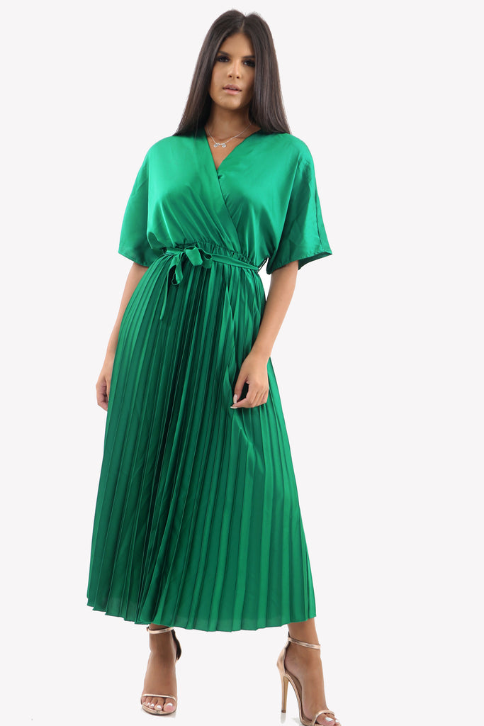 Satin Batwing Pleated Maxi Dress in Emerald Green