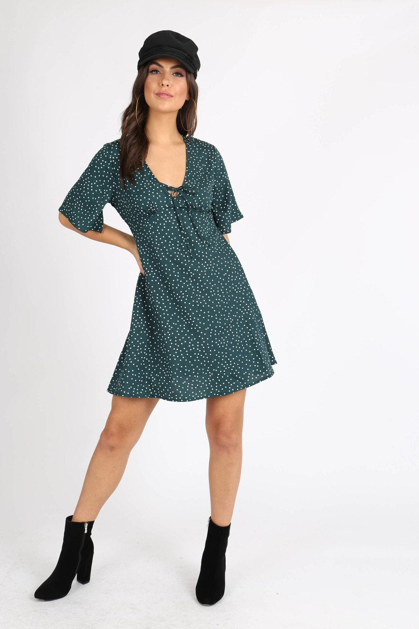 Green Polkadot Tie Front Mini Dress