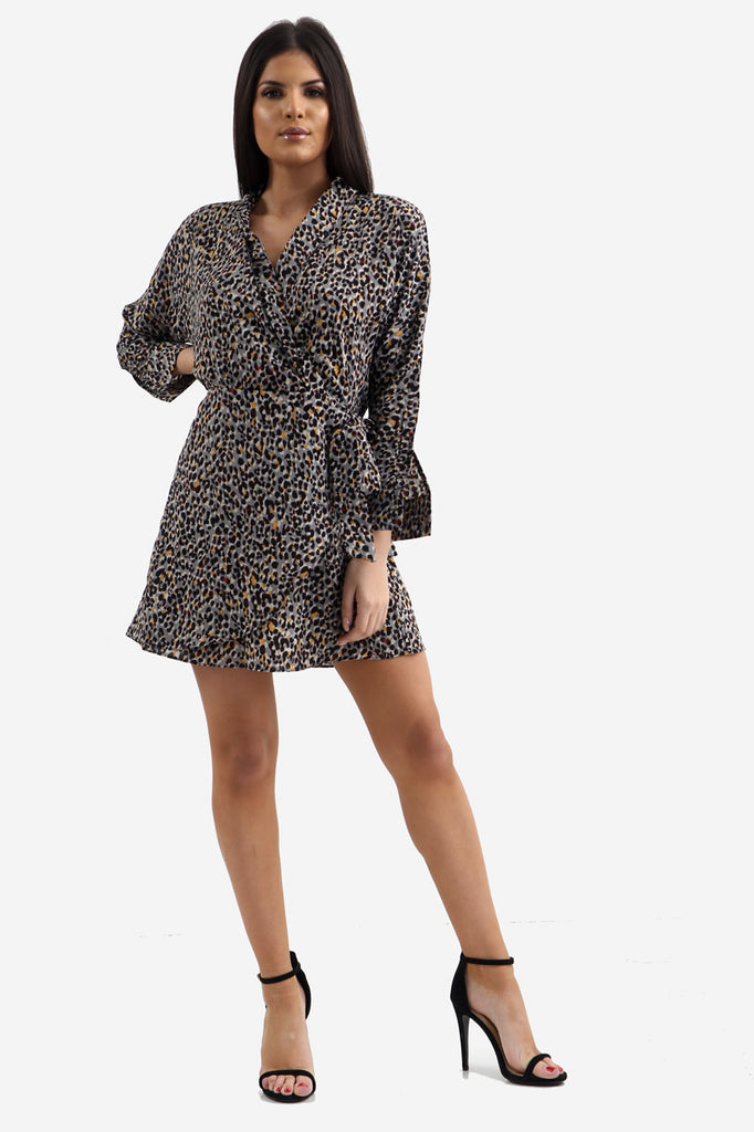Grey Animal Print Tea Dress In Leopard Print
