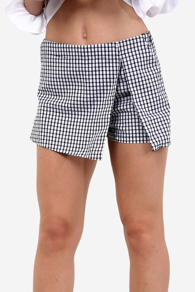 Grey Checkered Mini Skort
