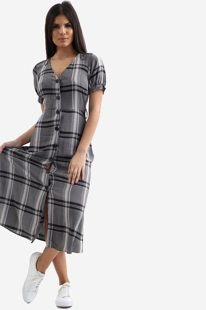 Grey Relaxed Button Down Plaid Dress