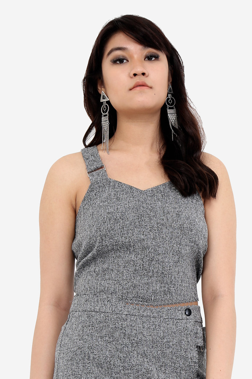 Grey Textured Crop Top Bralet