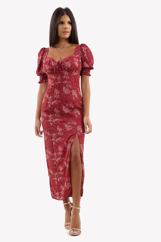 Red Ditsy Print Side Split Midi Dress