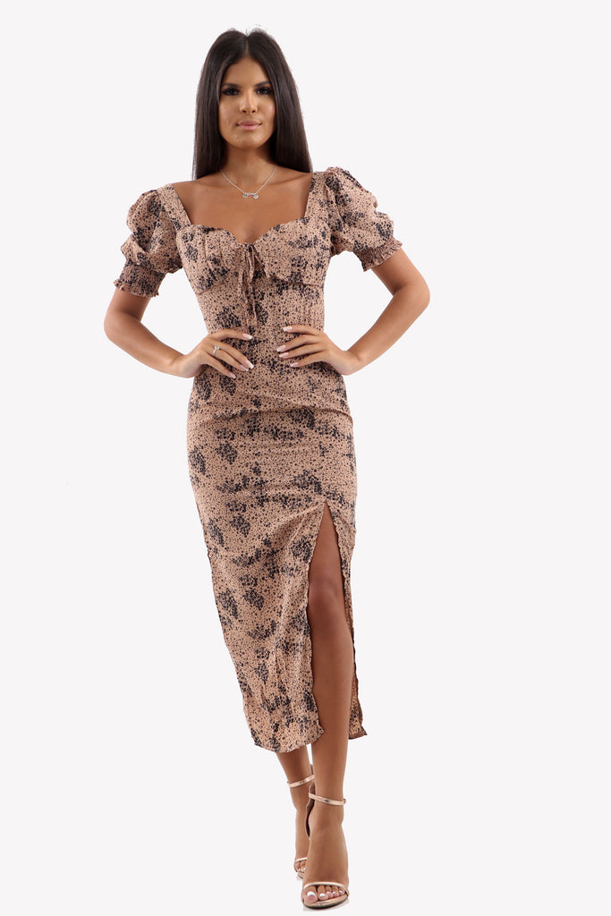 Nude Ditsy Print Side Split Midi Dress