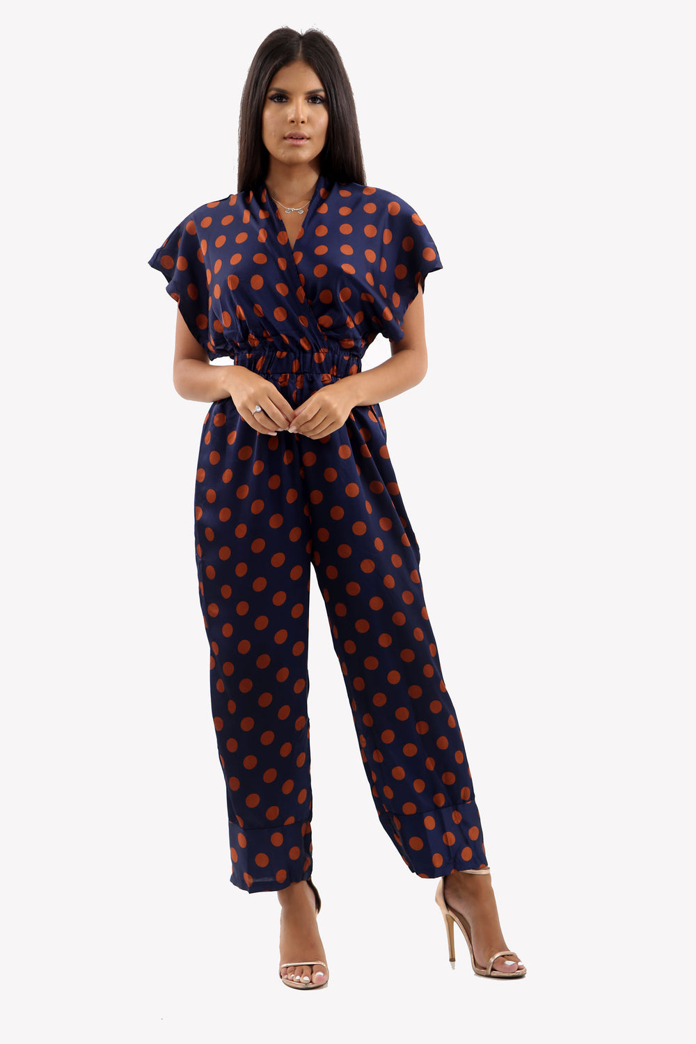 Navy Polka Dot Satin Jumpsuit With Deep V-Line