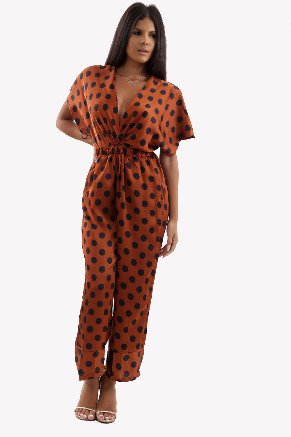 Rust Polka Dot Satin Jumpsuit With Deep V-Line