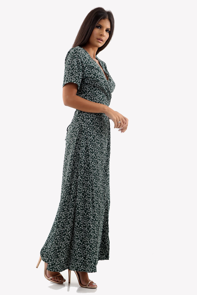 Green Ditsy Print Floral Wrap over Maxi Dress