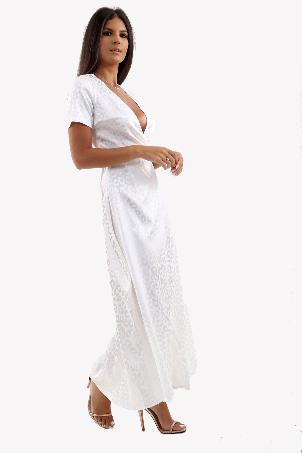 Satin Maxi Wrap Dress In White Leopard Print