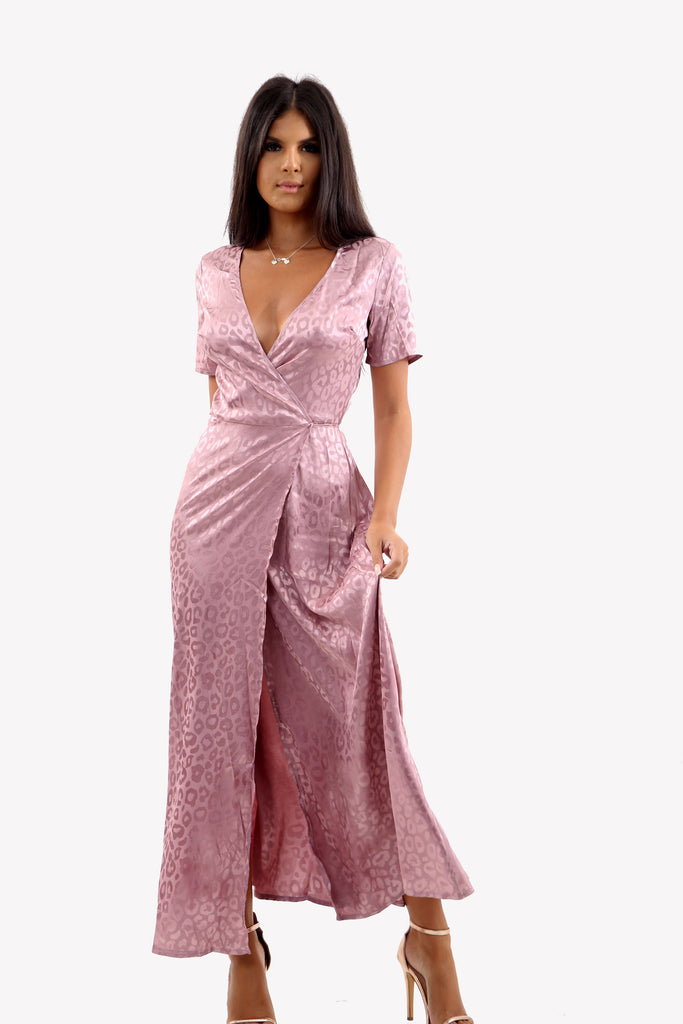 Satin Maxi Wrap Dress In Pink Leopard Print