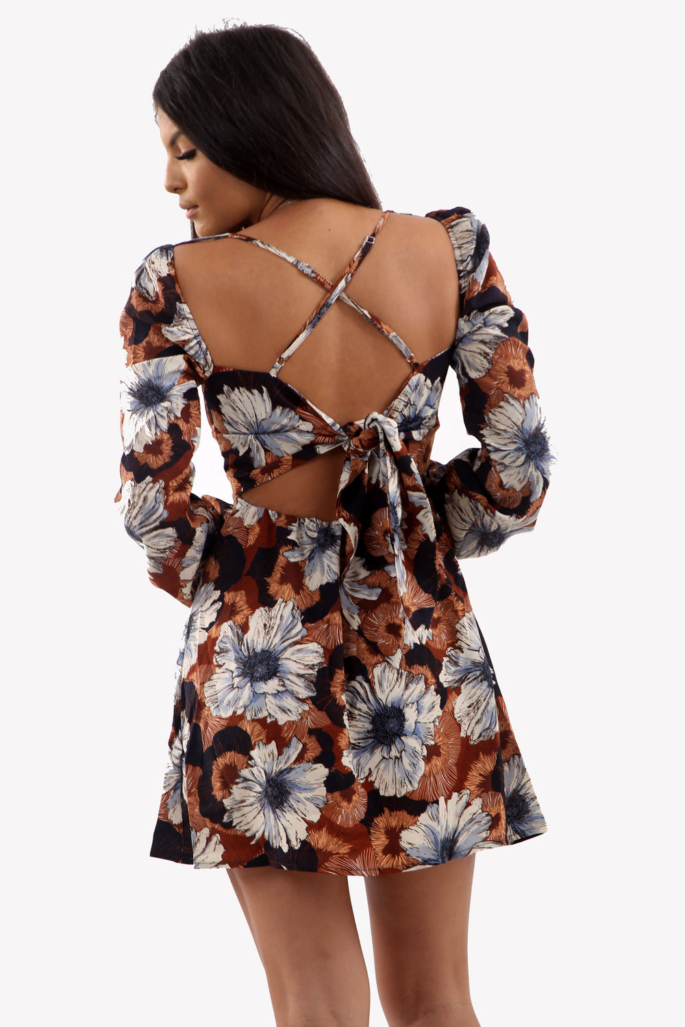 Brown Floral Blossom Sleeve Mini Dress