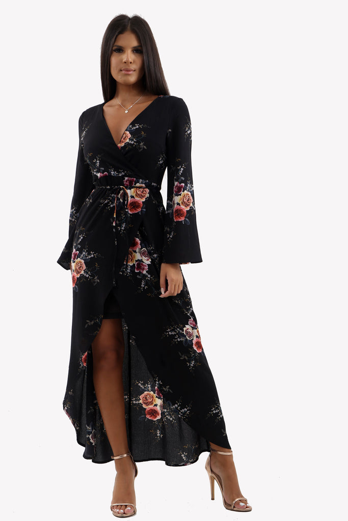 Black Floral Wrap Flare Sleeve Maxi Dress