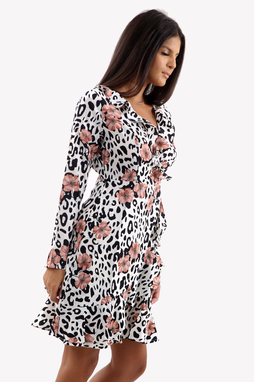 White Animal Print Wrap Mini Dress With Pink Floral Design