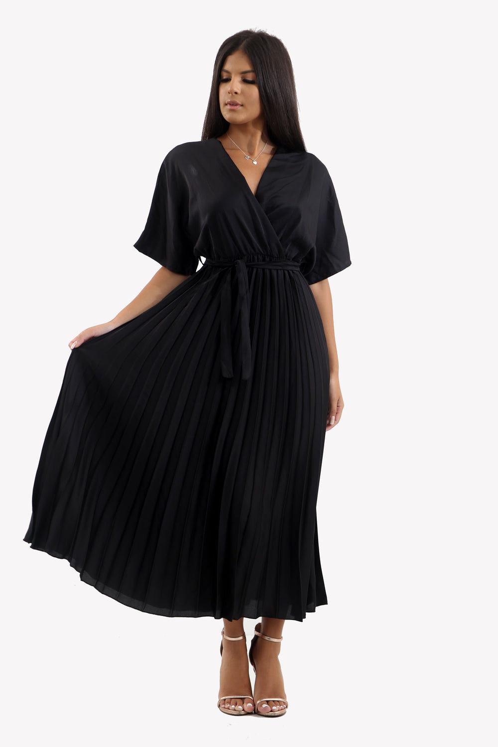 Satin Batwing Pleated Maxi Dress in Black