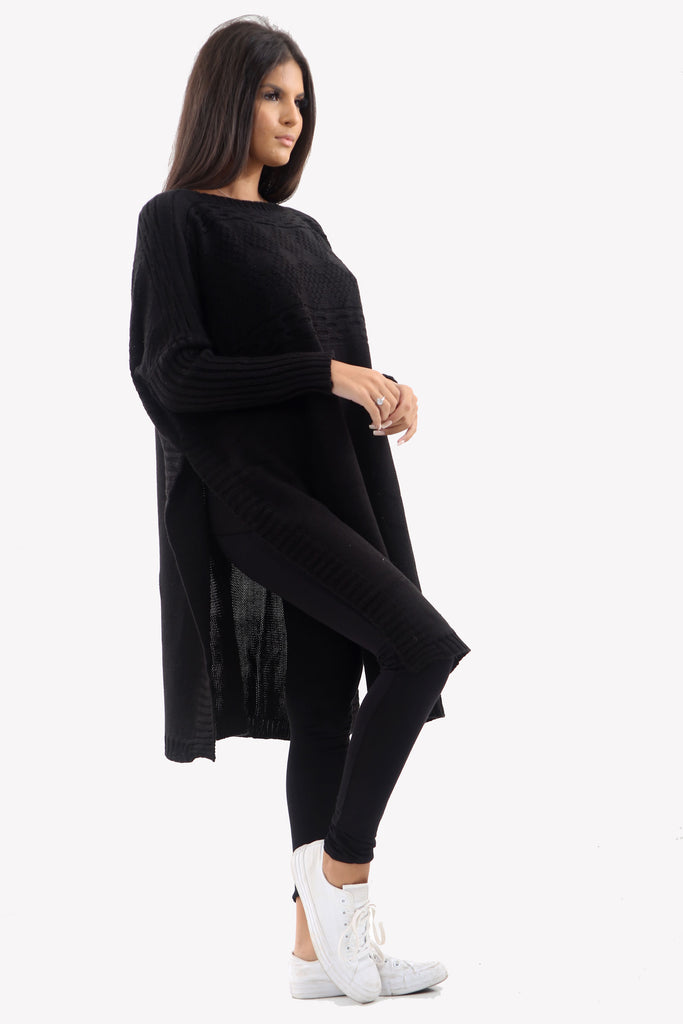 Black Long Sleeve Knitted Jumper With Side Splits