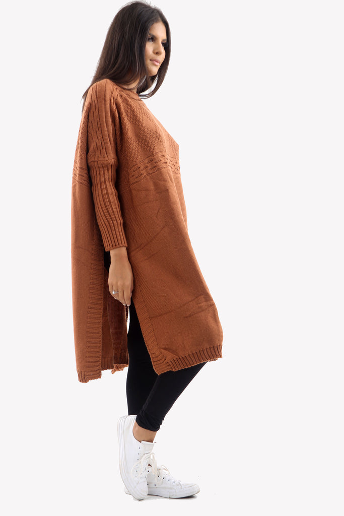 Rust Long Sleeve Knitted Jumper With Side Splits