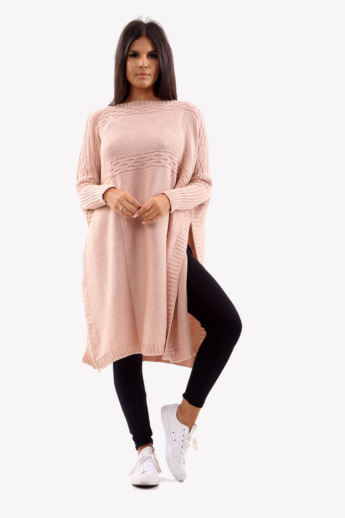 Pink Long Sleeve Knitted Jumper With Side Splits