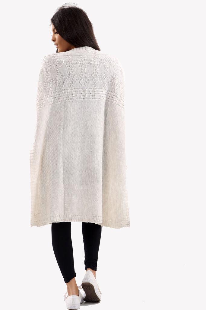 Cream Long Sleeve Knitted Jumper With Side Splits