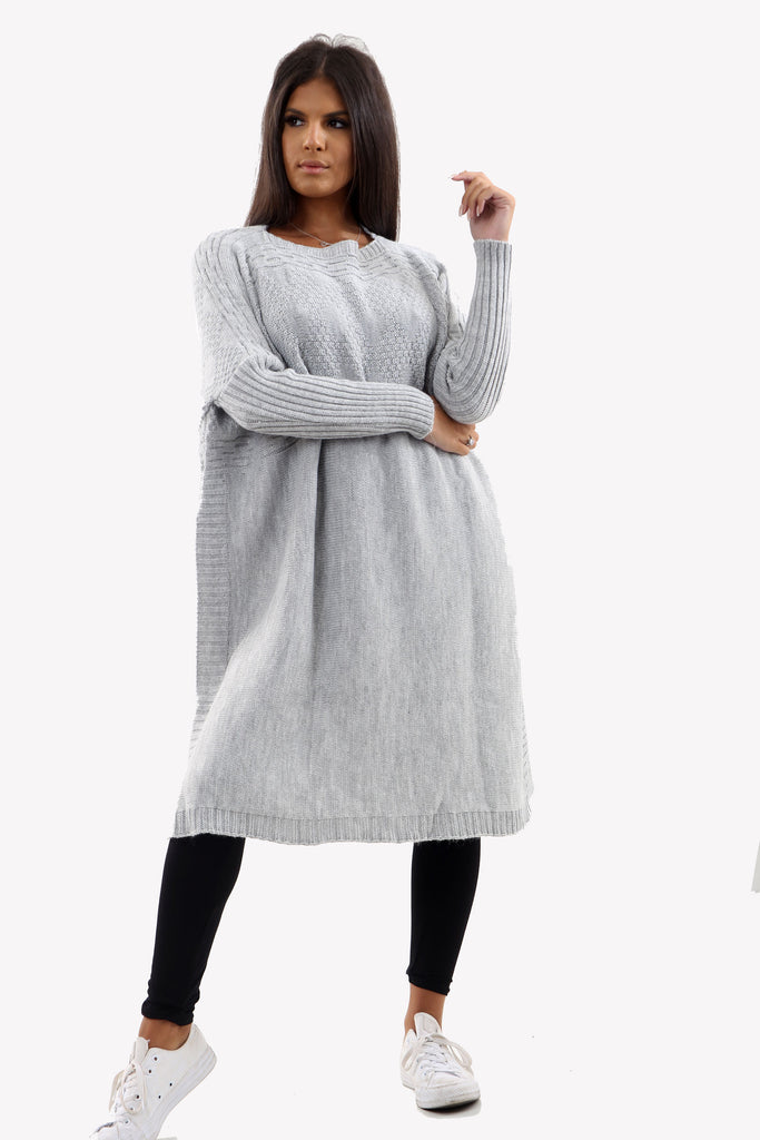 Grey Long Sleeve Knitted Jumper With Side Splits