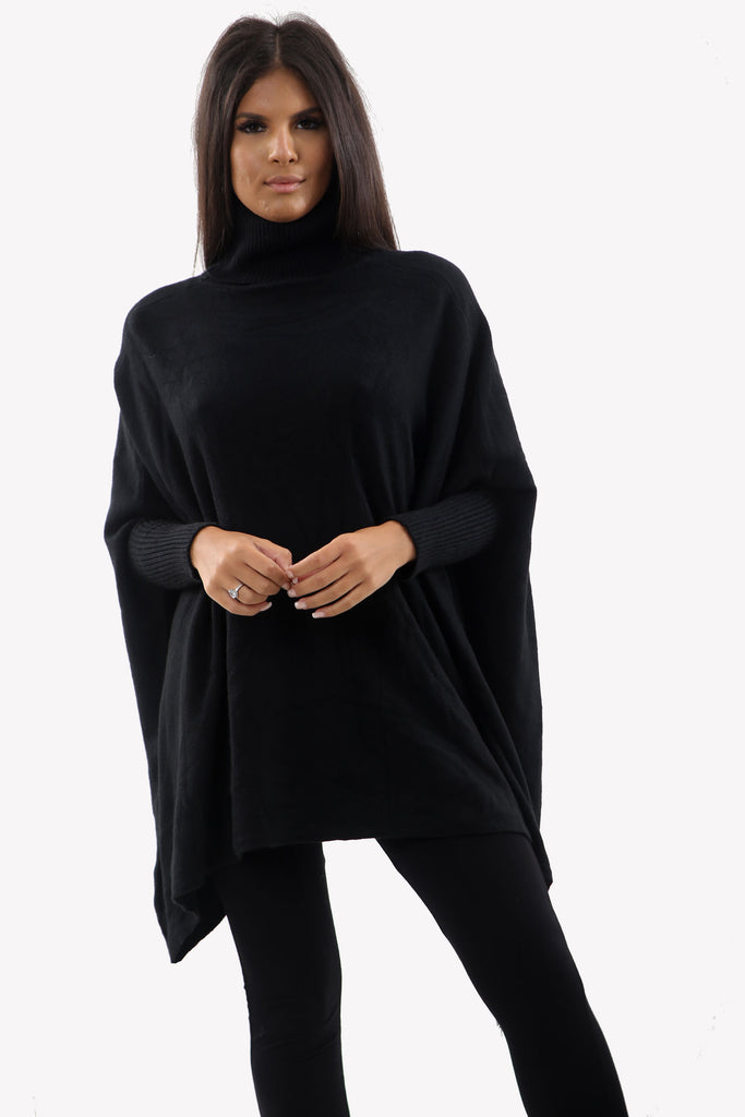 Black Roll Neck Batwing Oversized Soft Jumper