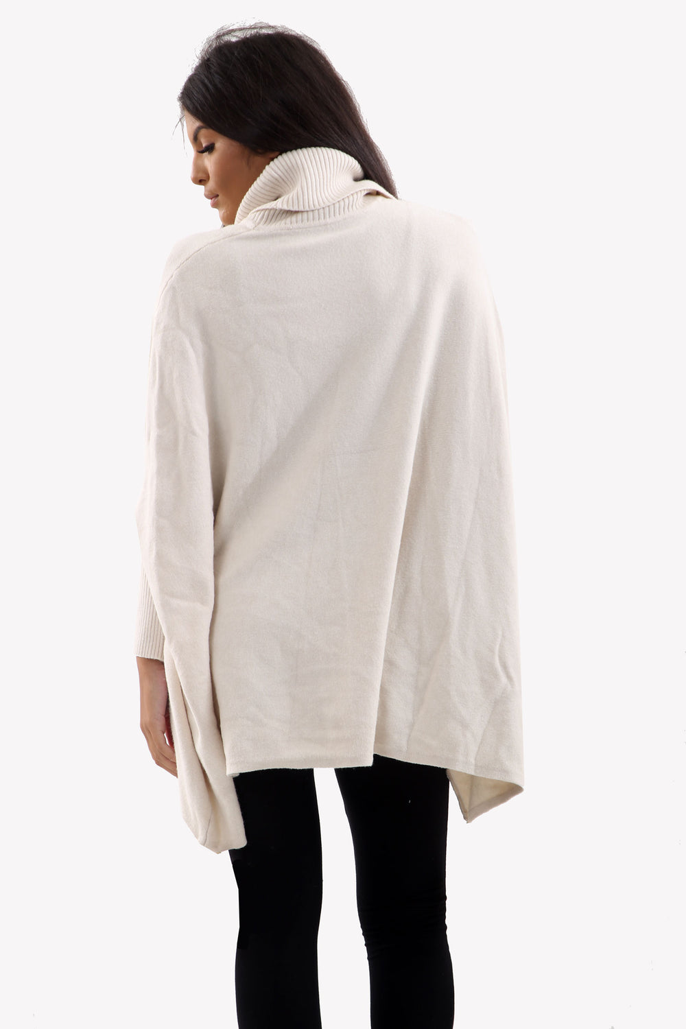 Cream Roll Neck Batwing Oversized Soft Jumper
