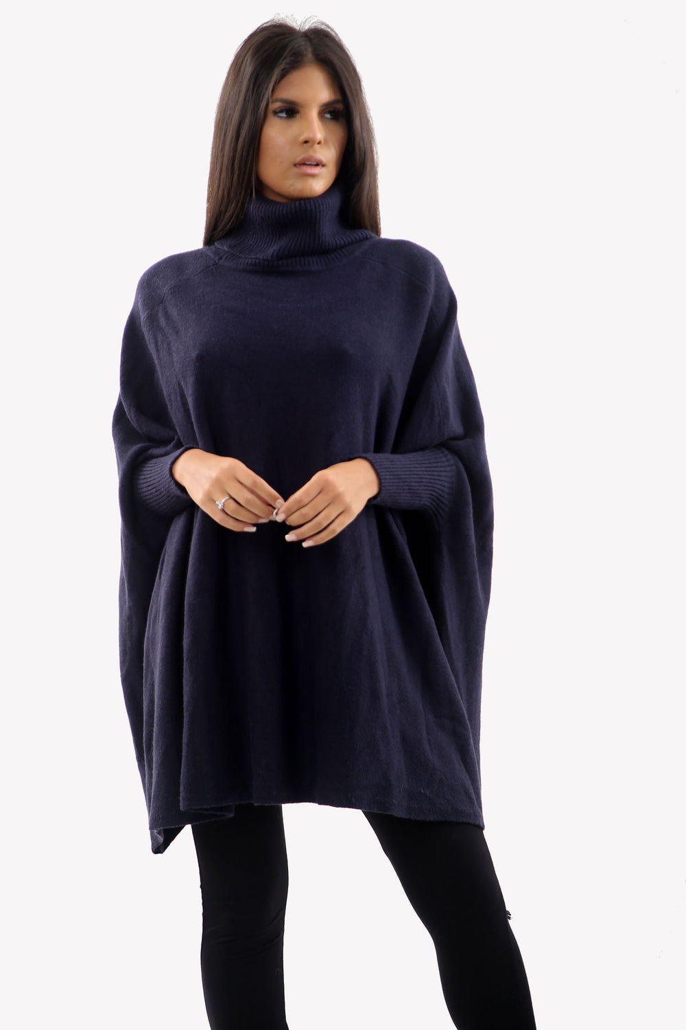 Navy Roll Neck Batwing Oversized Soft Jumper