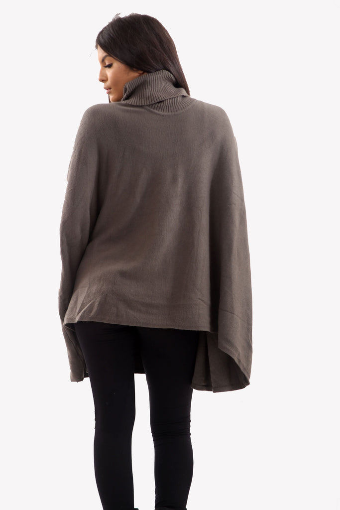 Cocoa Brown Roll Neck Batwing Oversized Soft Jumper