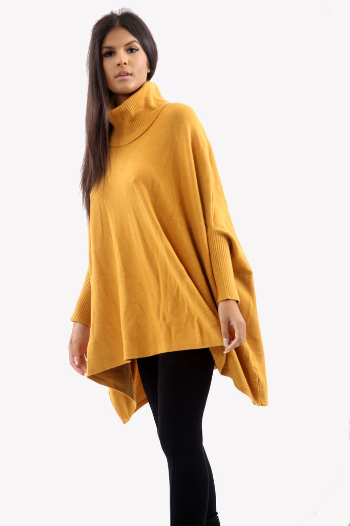 Mustard Roll Neck Batwing Oversized Soft Jumper
