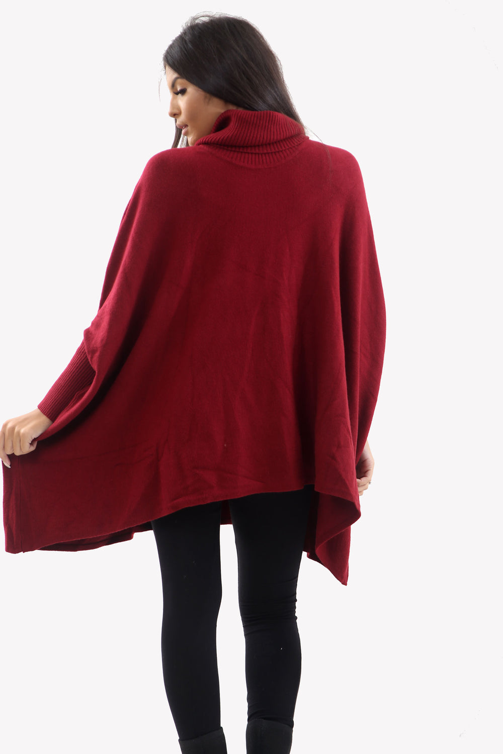 Wine Roll Neck Batwing Oversized Soft Jumper