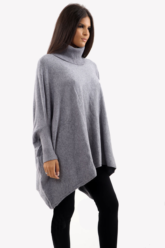 Grey Roll Neck Batwing Oversized Soft Jumper