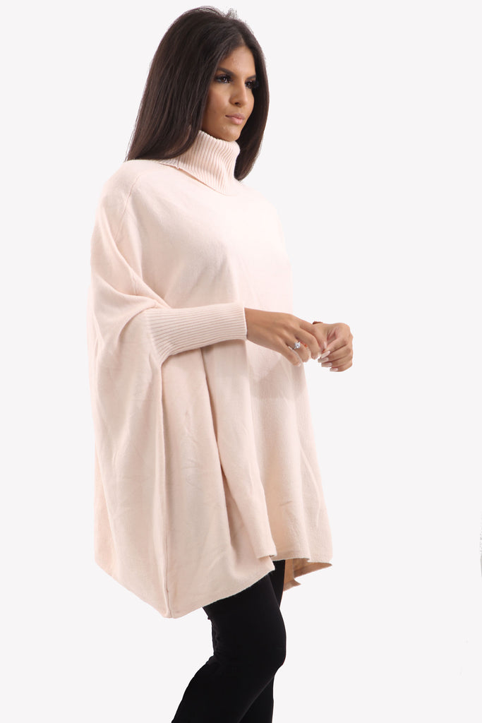 Pink Roll Neck Batwing Oversized Soft Jumper