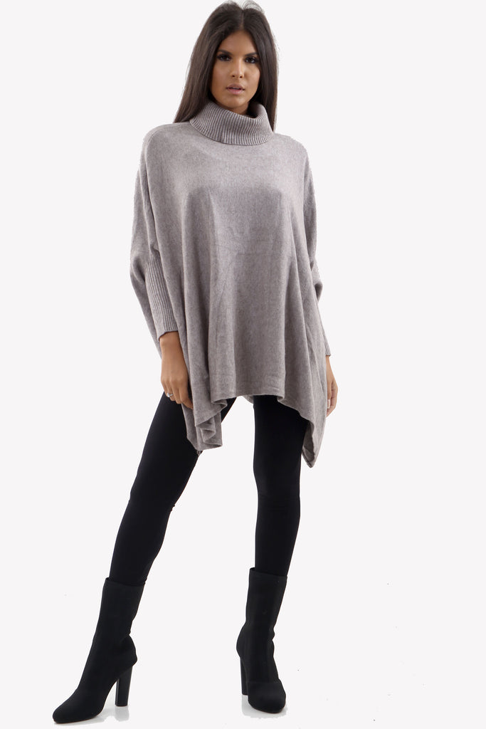 Warm Grey Roll Neck Batwing Oversized Soft Jumper