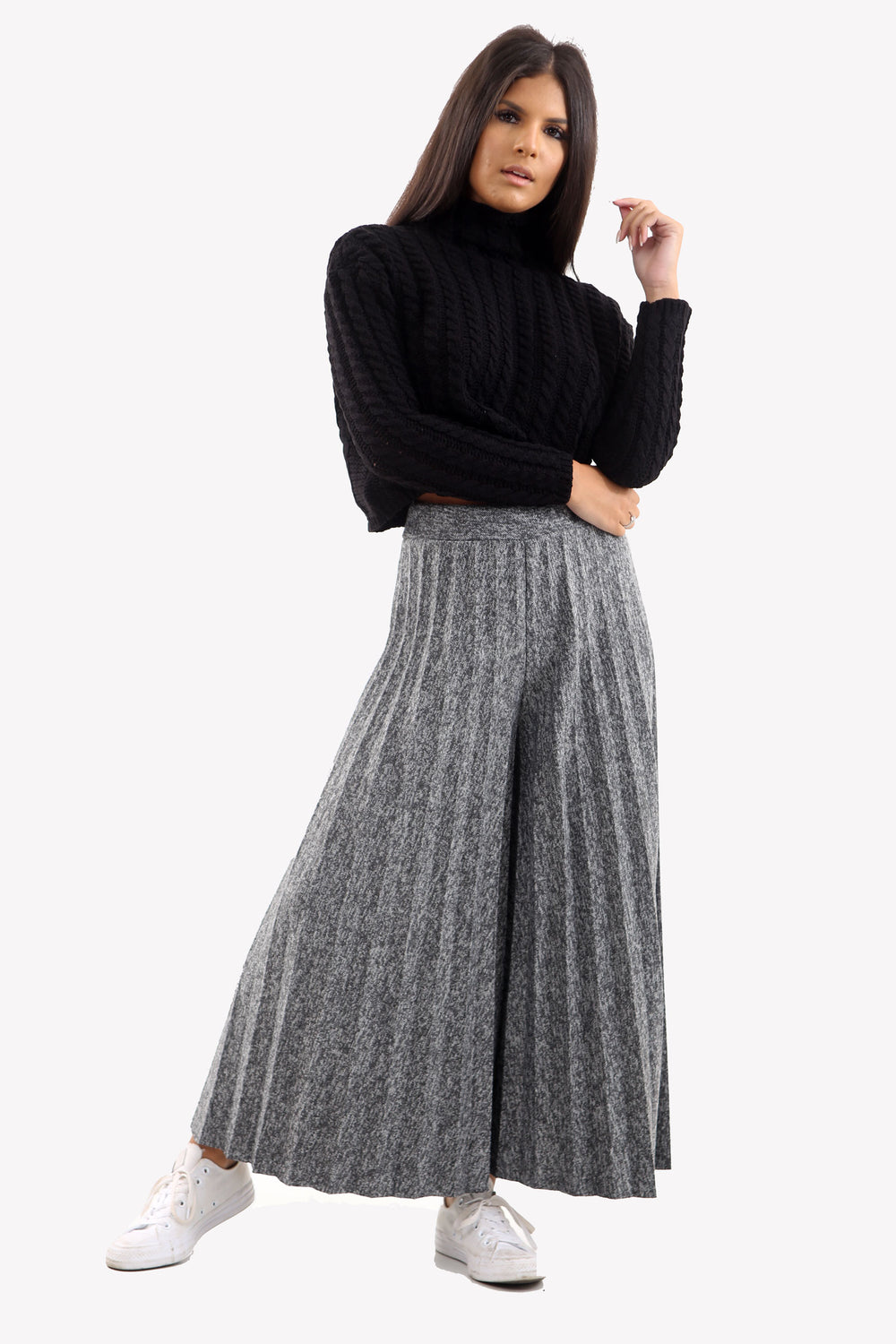 Charcoal Mixed Knit Wide Leg Pleated Culottes