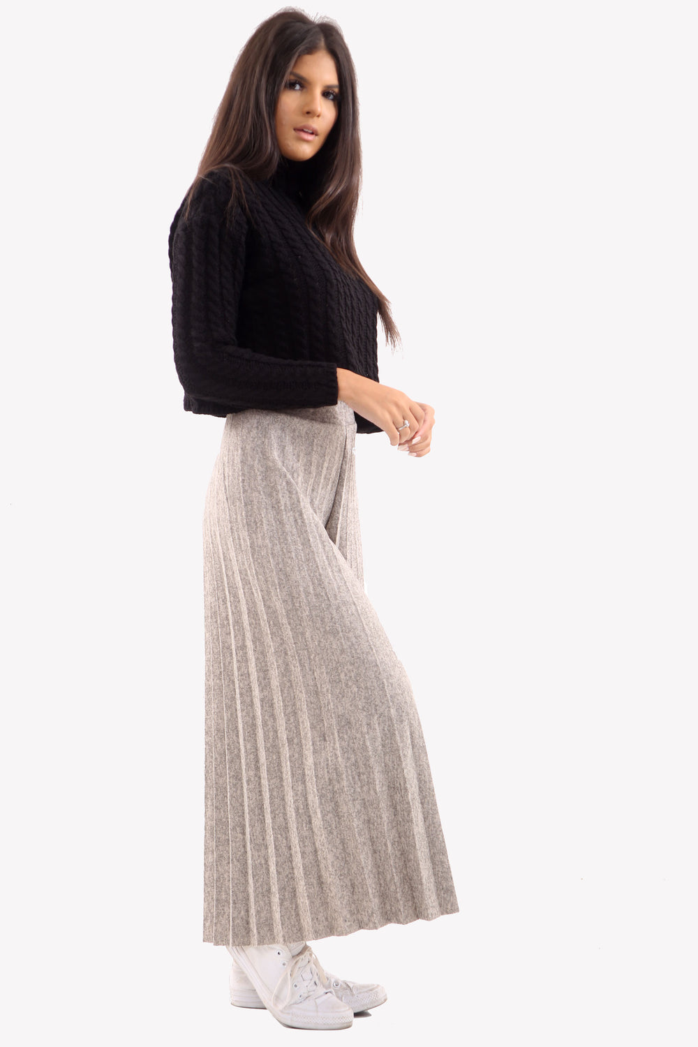 Stone Mixed Knit Wide Leg Pleated Culottes