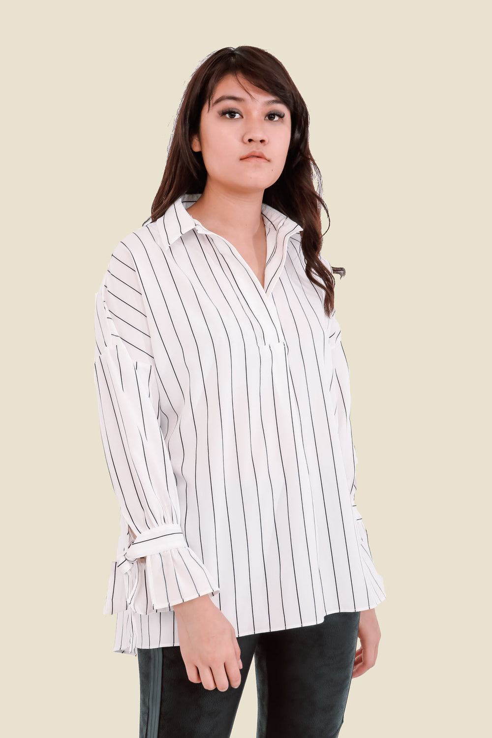 White Oversized Striped Top