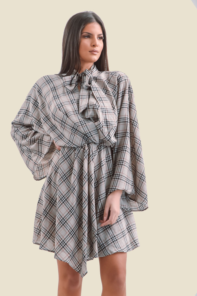Grey Plaid Flare Sleeve Pussy Bow V-Neck Dress