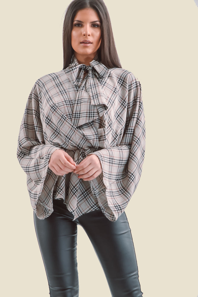 Grey Plaid Flare Sleeve Pussy Bow V-Neck Top