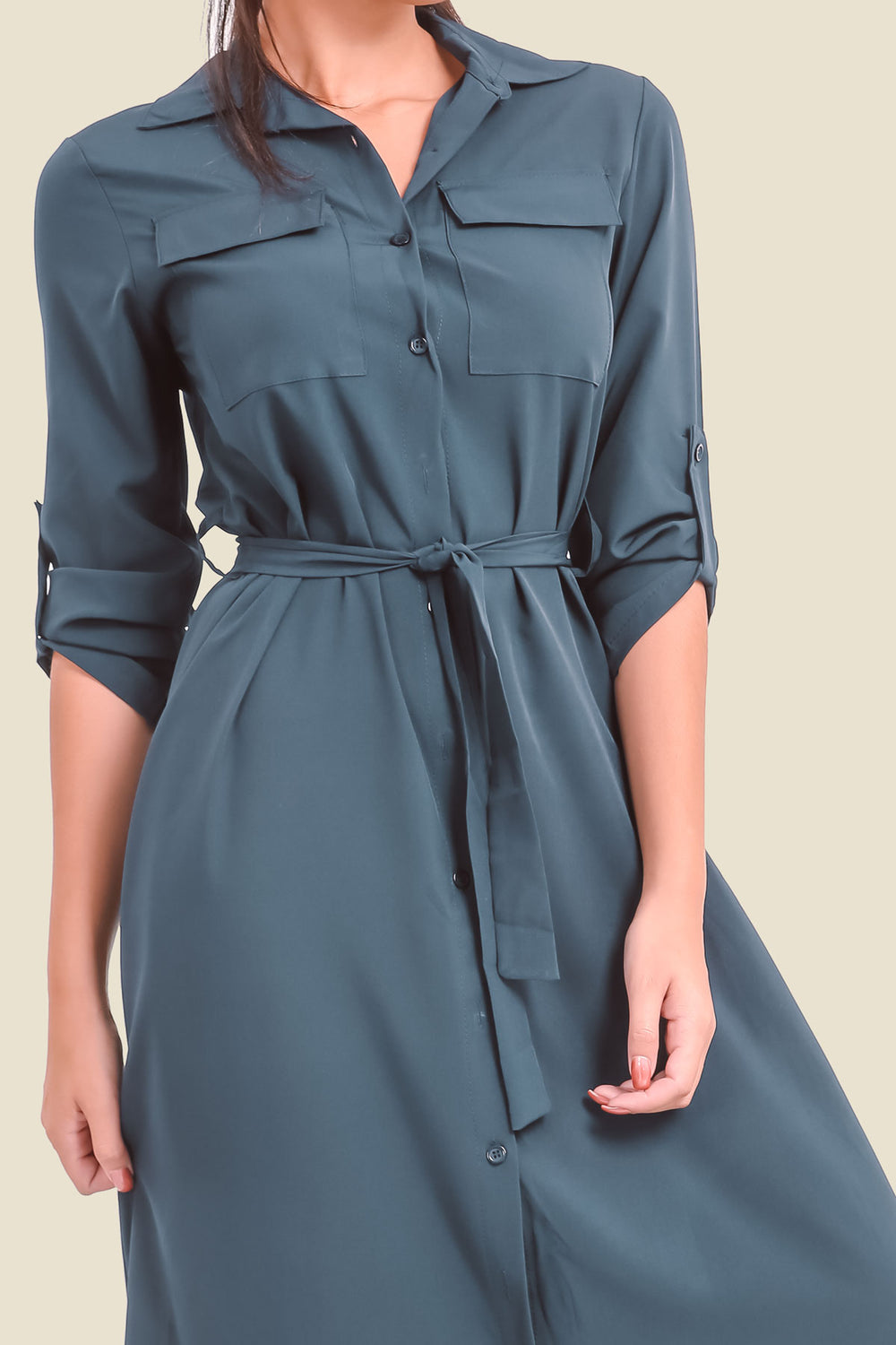 Navy Maxi Shirt Dress