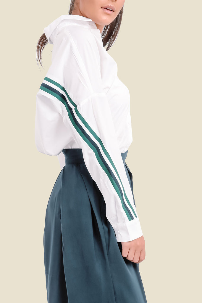 White Oversized Shirt With Side Stripe On Sleeves